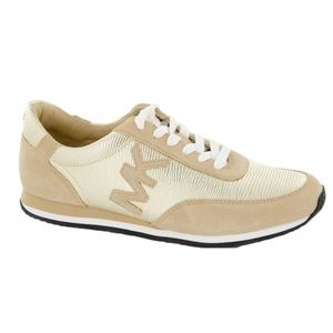 Michael Kors Stanton Gold Suede Leather Trainers